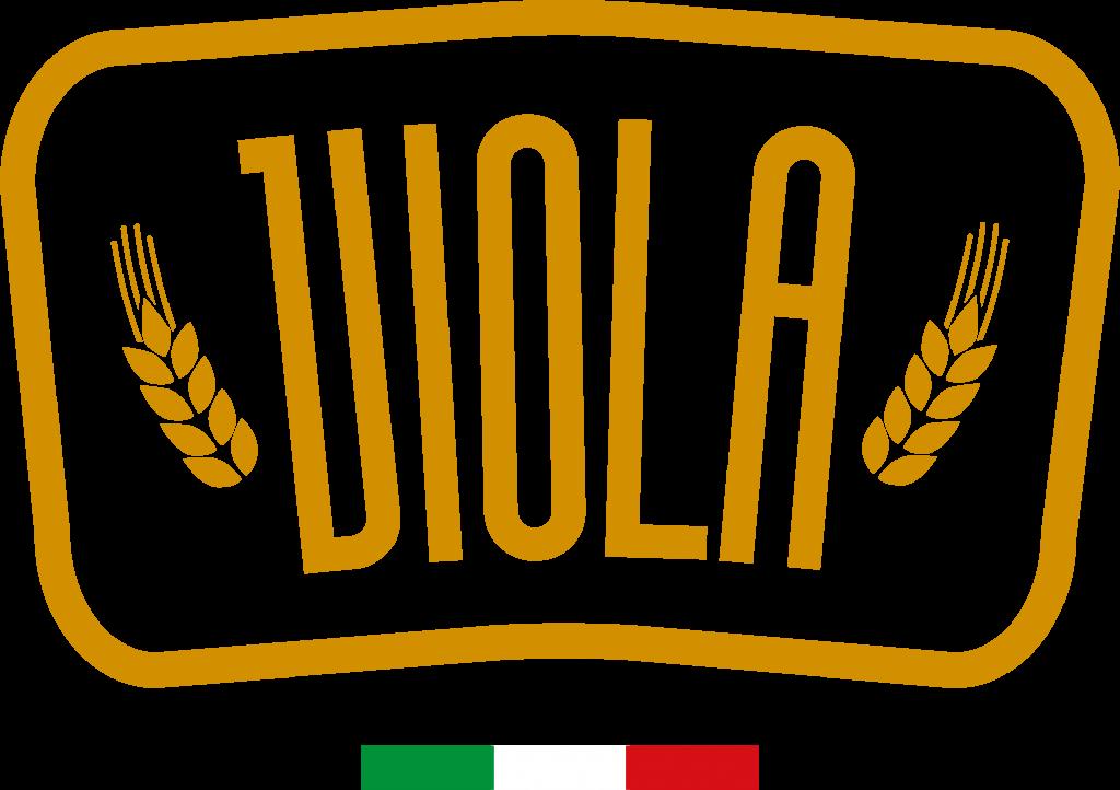 logo biscottificio viola di colore oro con bandiera italiana nella parte inferiore